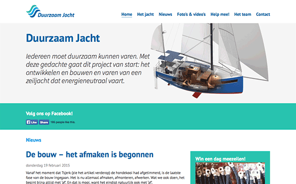 screenshot van de website van Duurzaam Jacht